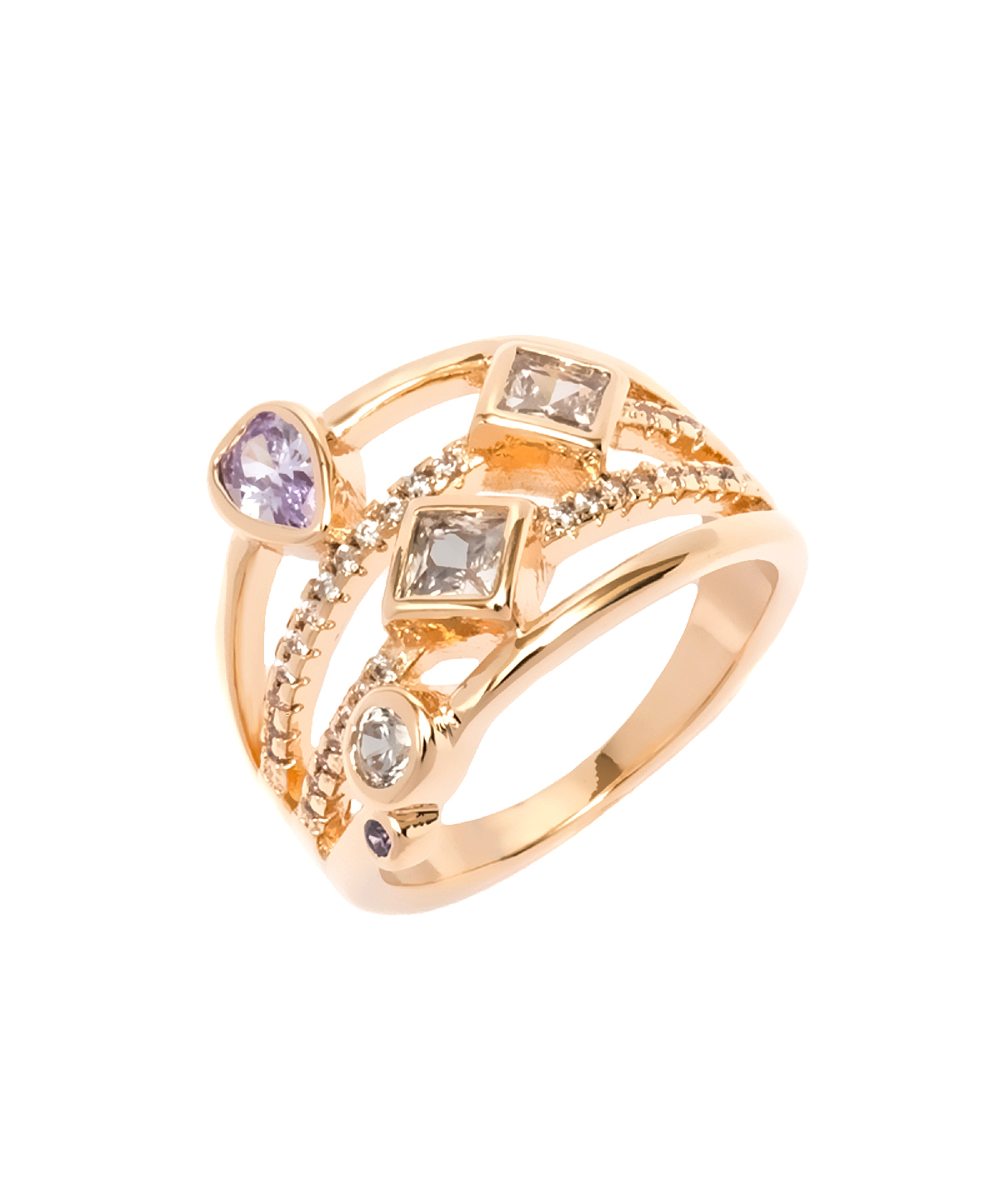 Peermont White And Purple Cz Ring | Hermosaz