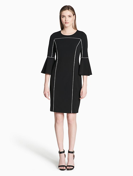 Calvin Klein PIPED BELL SLEEVE SHEATH DRESS | Hermosaz