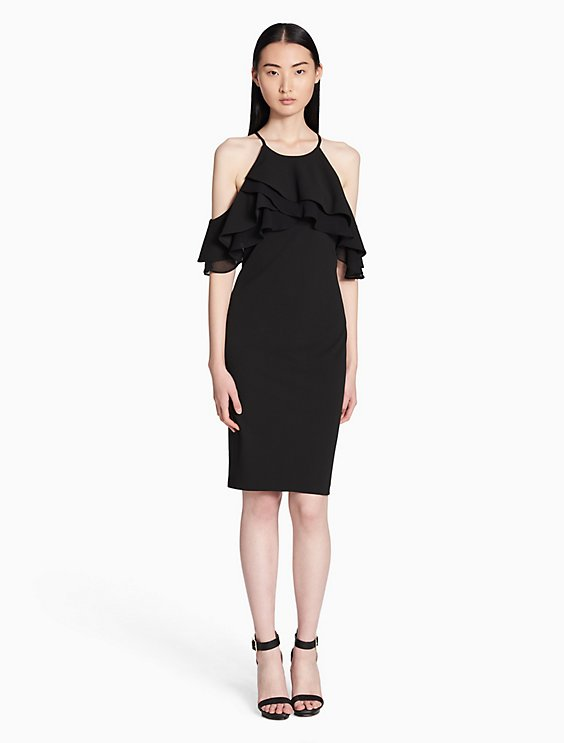 Calvin Klein COLD SHOULDER RUFFLE SHEATH DRESS | Hermosaz