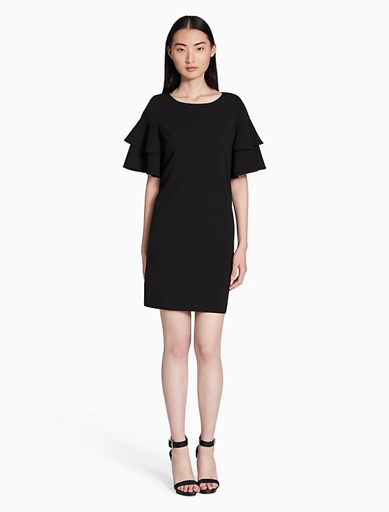 Calvin Klein TIERED RUFFLE SLEEVE SHIFT DRESS | Hermosaz