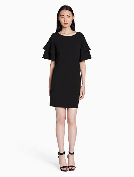 Calvin Klein TIERED RUFFLE SLEEVE SHIFT DRESS | Hermosaz