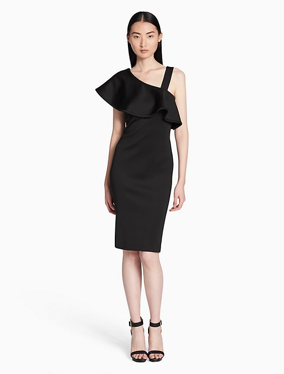 Calvin Klein ASYMMETRIC RUFFLE SHOULDER SHEATH DRESS | Hermosaz