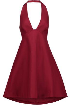 HALSTON HERITAGE Open-back stretch-cotton halterneck mini dress | Hermosaz