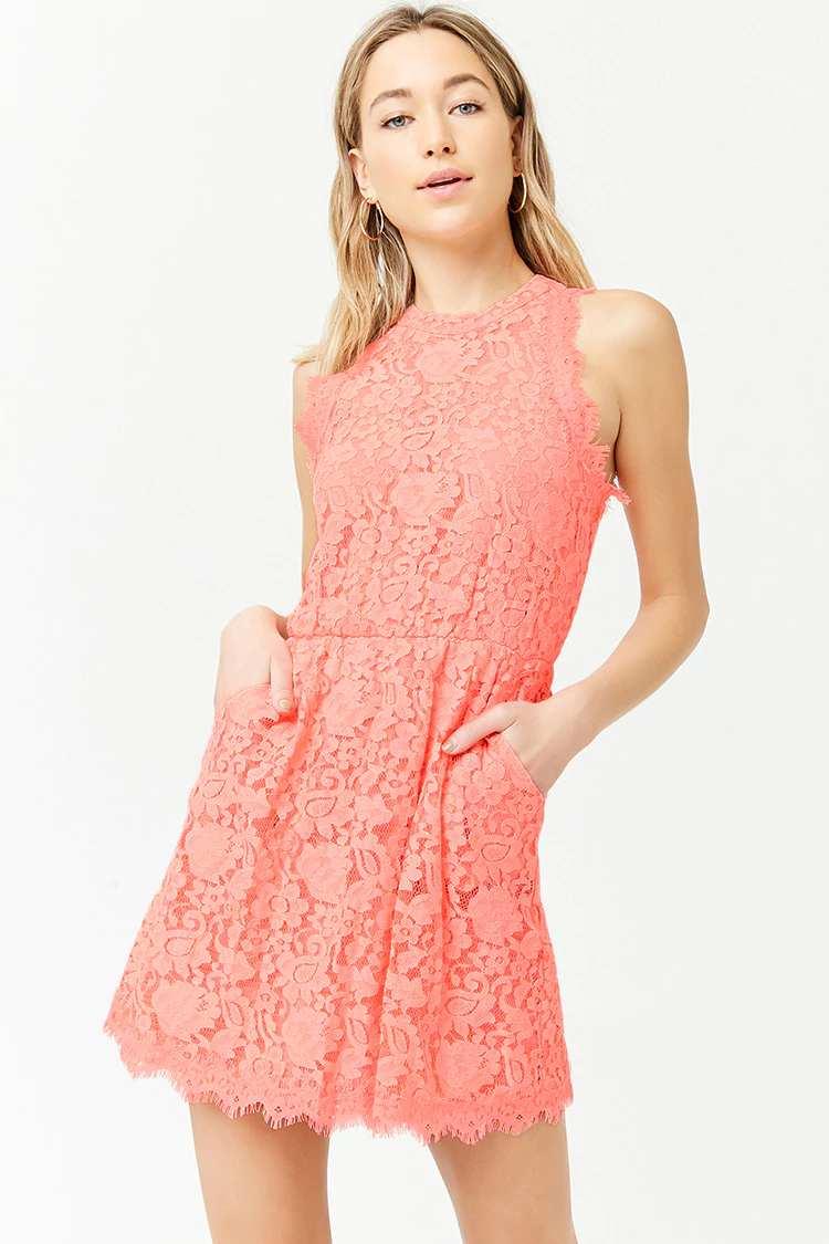 Sleeveless Floral Lace Dress | Hermosaz