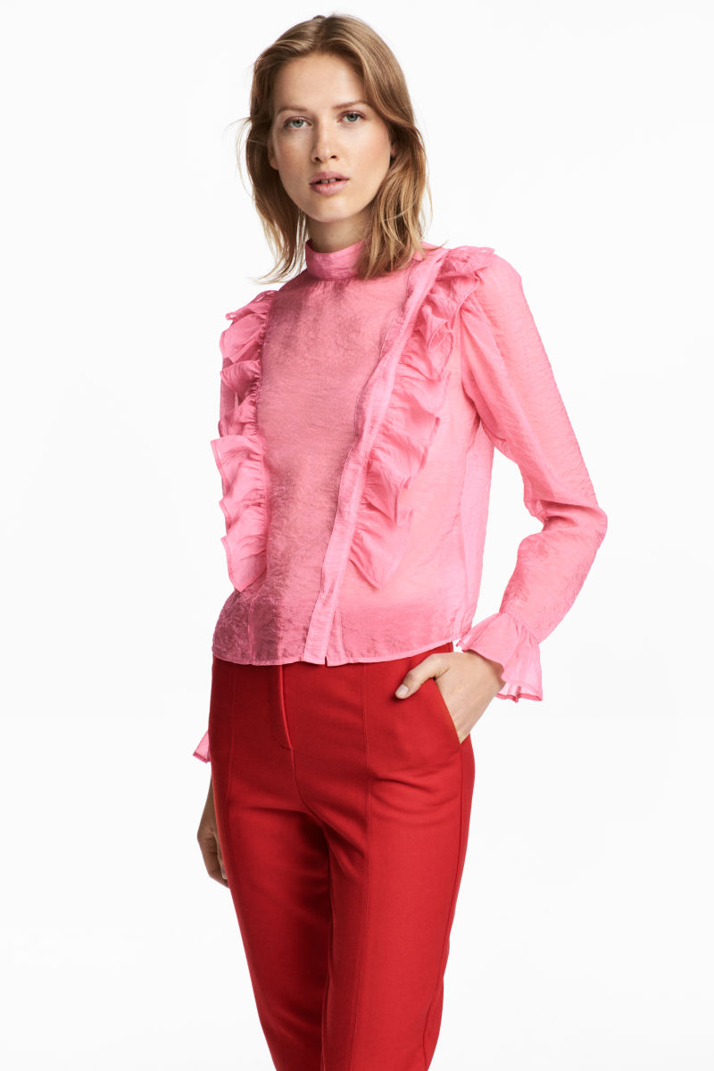 Puff-sleeved Ruffled Blouse | Hermosaz