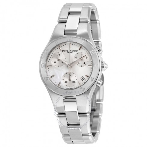 Baume and Mercier Linea Chronograph Mother of Pearl Dial Ladies Watch | Hermosaz