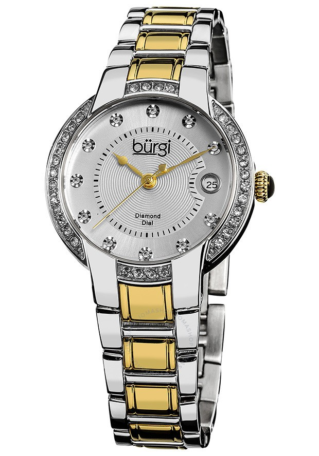 Burgi Silver Dial Two-Tone Stainless Steel Ladies Watch | Hermosaz