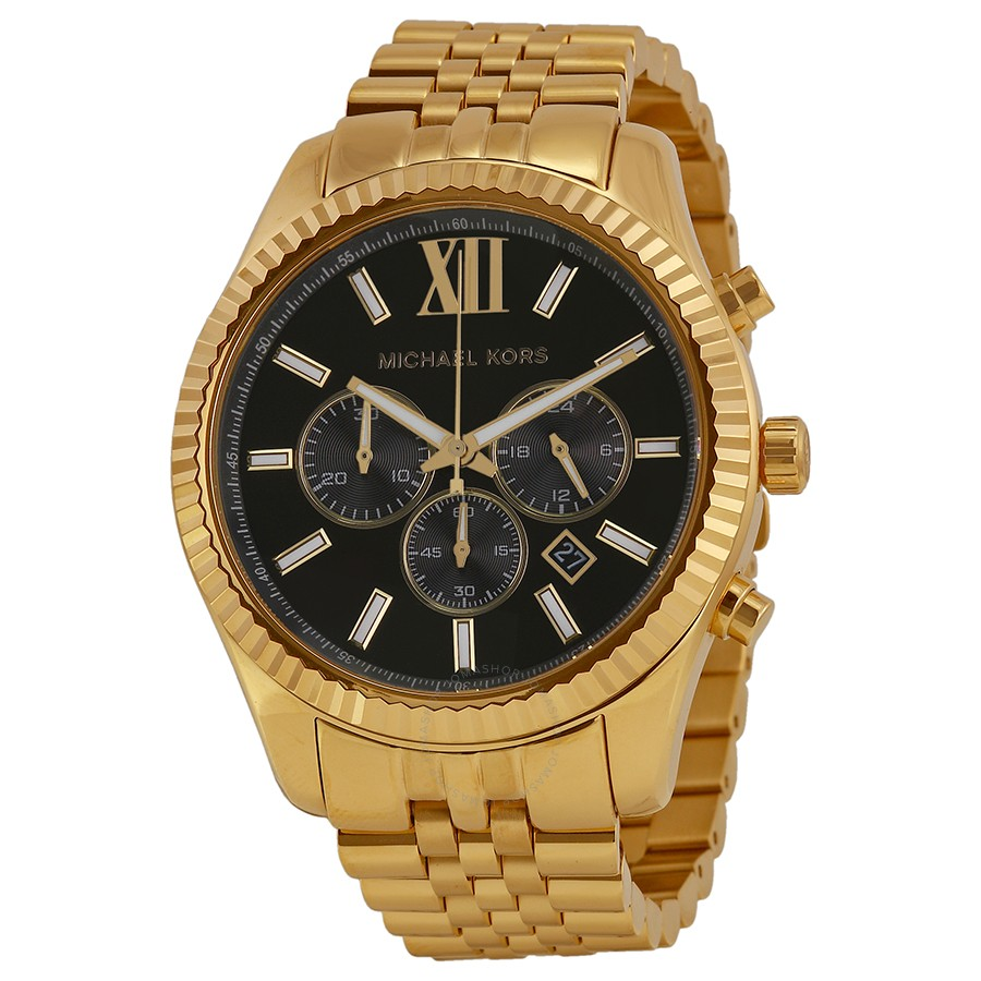 Michael Kors Lexington Chronograph Black Dial Men's Watch   Hermosaz
