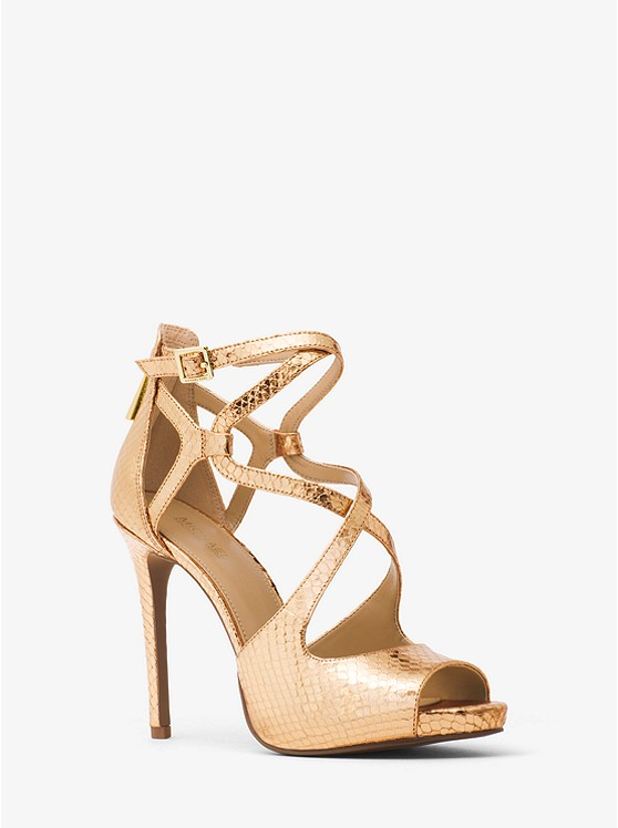 Michael Michael Kors Catia Metallic Embossed-Leather Sandal | Hermosaz
