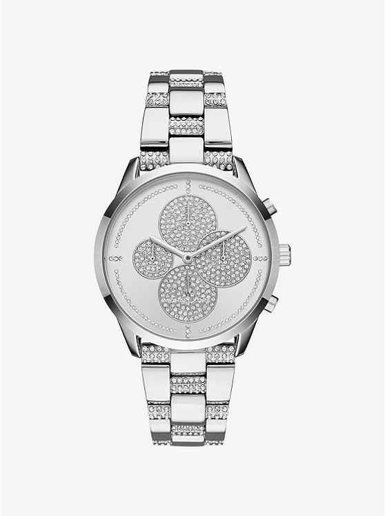 Michael Kors Slater Pavé Silver-Tone Watch | Hermosaz