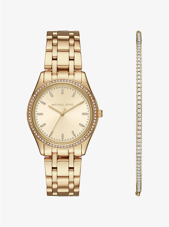 Michael Kors Kiley Gold-Tone Watch and Bracelet Set | Hermosaz