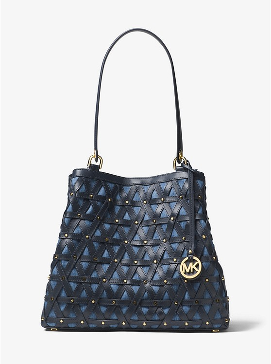 Michael Michael Kors Brooklyn Large Leather and Denim Tote | Hermosaz