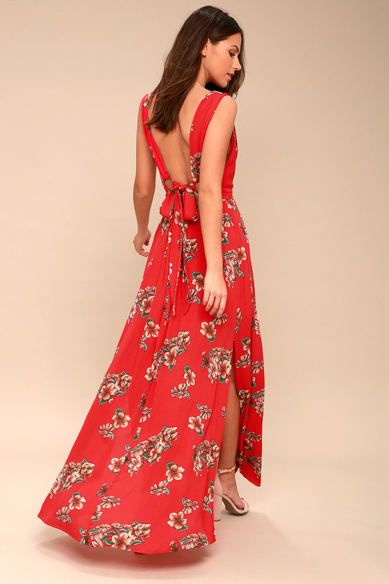 AFTERNOON TEA CORAL RED FLORAL PRINT TIE-BACK MAXI DRESS | Hermosaz