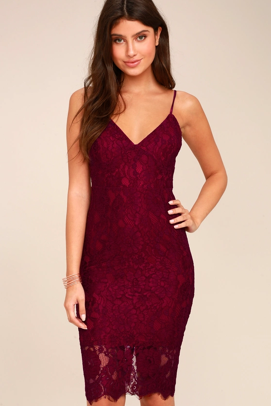 EXTRAORDINARY LOVE BURGUNDY LACE MIDI DRESS | Hermosaz