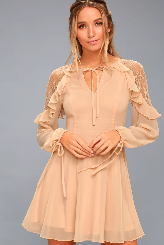 CITY OF LOVE PEACH LACE LONG SLEEVE SKATER DRESS | Hermosaz