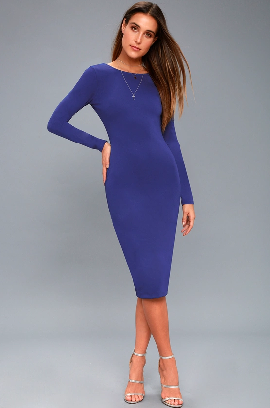 VA VA VOOM ROYAL BLUE BACKLESS MIDI DRESS | Hermosaz