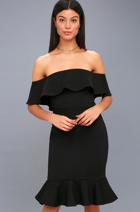 CONFIDENCE BOOST BLACK OFF-THE-SHOULDER BODYCON DRESS | Hermosaz