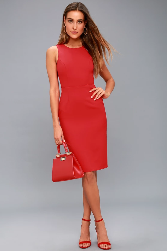 BE MINE RED OPEN BACK MIDI DRESS | Hermosaz