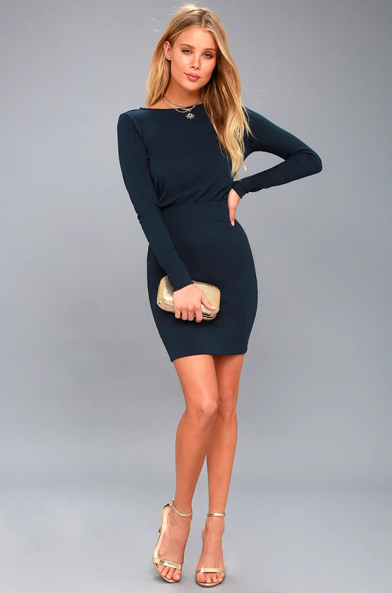 VISION OF LOVE NAVY BLUE LONG SLEEVE BODYCON DRESS | Hermosaz