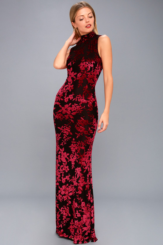 DARIANA BLACK AND RED VELVET FLORAL PRINT BACKLESS MAXI DRESS | Hermosaz