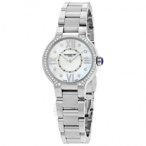 Raymond Weil Noemia Mother of Pearl Diamond-Studded Dial Ladies Watch | Hermosaz