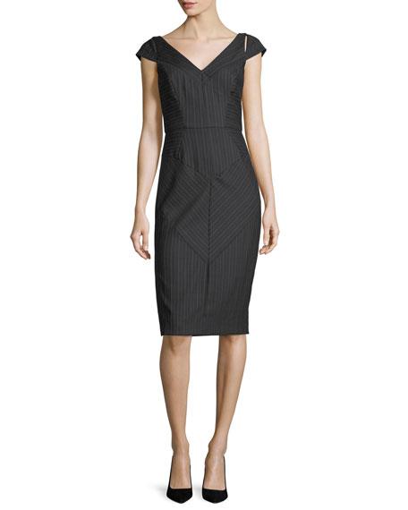 Milly Larissa Cap-Sleeve Pinstriped Sheath Dress   Hermosaz