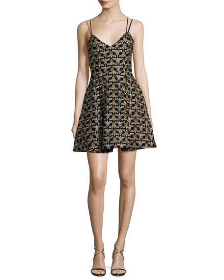 Alice + Olivia Marilla Damask Embroidered V-Neck Fit & Flare Dress   Hermosaz
