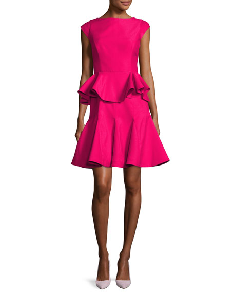 Halstone Heritage Cap-Sleeve Structured Tiered Flounce Cocktail Dress | Hermosaz