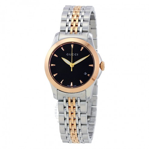 Gucci Timeless Black Dial Two-tone Stainless Steel Ladies Watch | Hermosaz