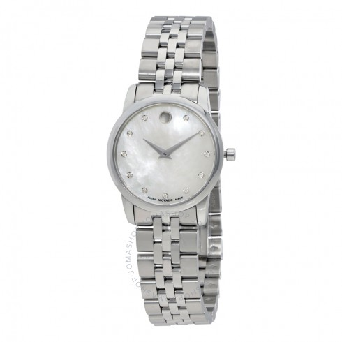 Movado Museum Mother of Pearl Diamond Dial Ladies Watch | Hermosaz