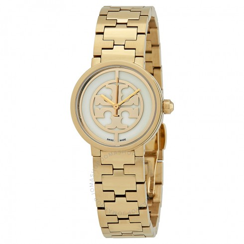 Tory Burch Reva Ivory Dial Ladies Gold Tone Watch   Hermosaz
