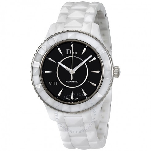 Dior VIII Automatic Black Dial White Ceramic Ladies Watch   Hermosaz