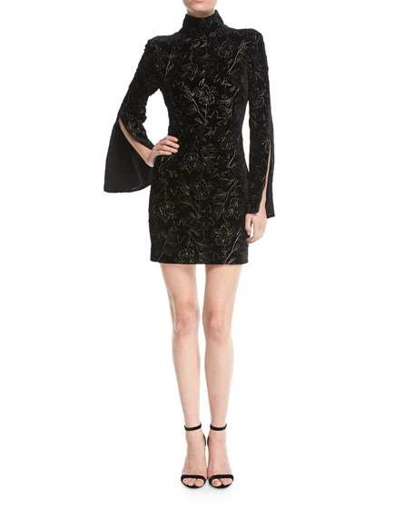 Cinq a Sept Winslow Turtleneck Bell-Sleeve Velvet Dress w/ Floral Metallic | Hermosaz