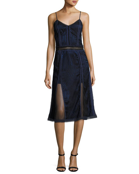 Johnathan Simkhai Scallop Ripple Lace Sleeveless Dress, Black/Blue   Hermosaz