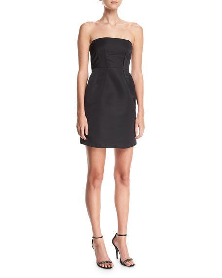 Theory Corset Strapless Tieback Satin Mini Dress   Hermosaz