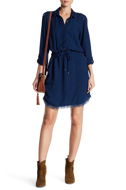 Splendid Frayed Trim Denim Dress | Hermosaz