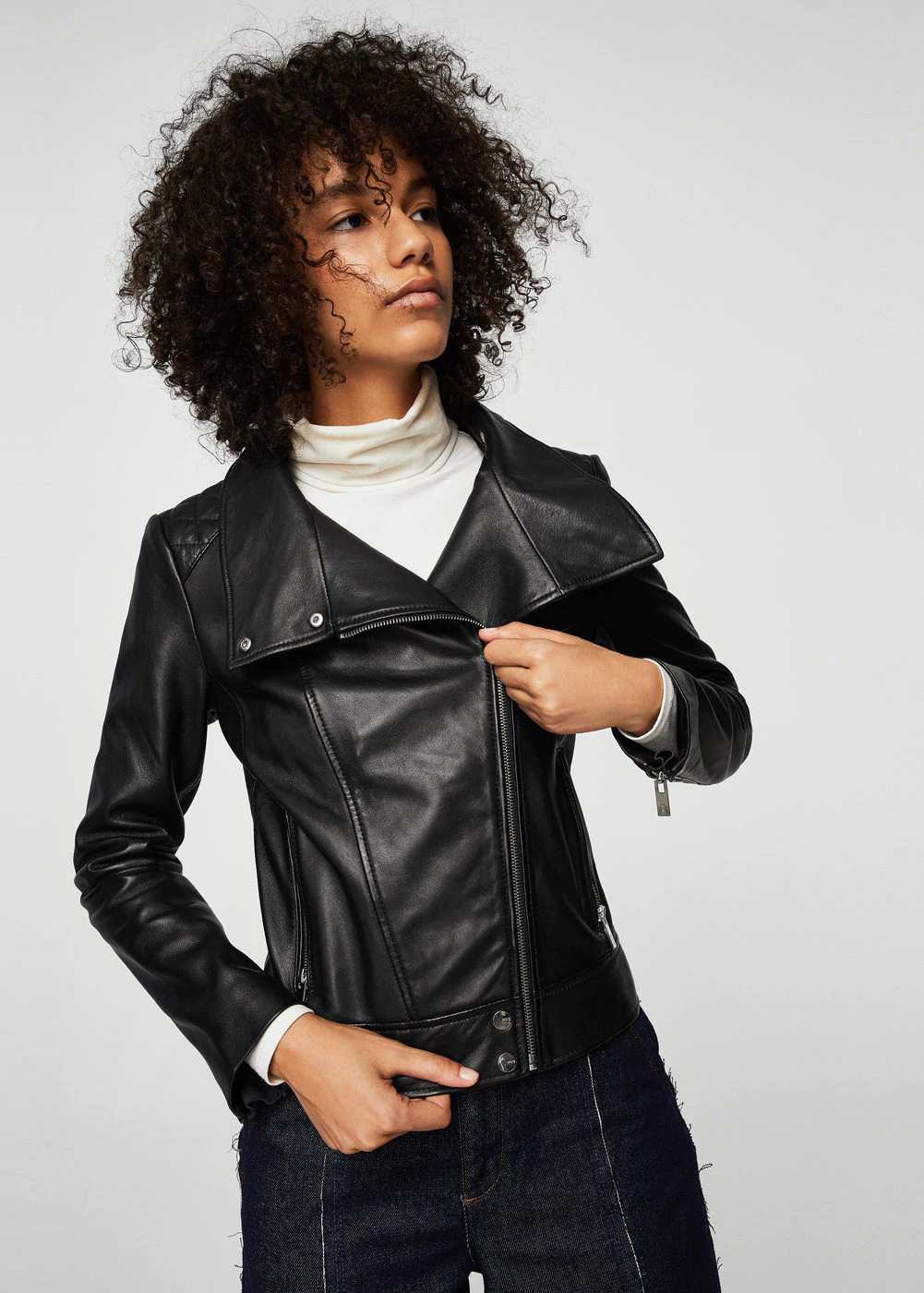 Lapels leather jacket | Hermosaz