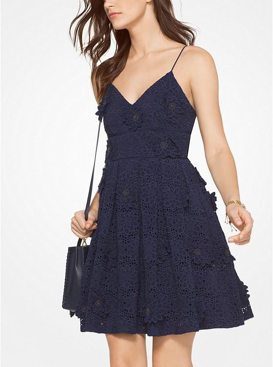 Floral Appliqué Lace Cotton Dress | Hermosaz