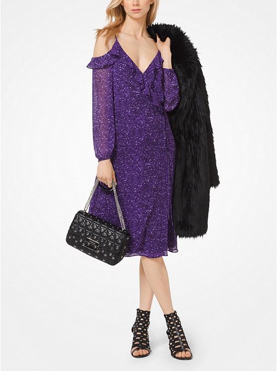 Tweed Georgette Peekaboo Wrap Dress | Hermosaz