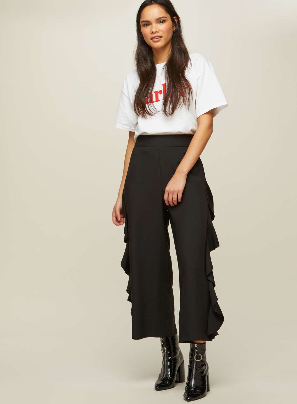 Black Cropped Ruffle Side Trousers | Hermosaz