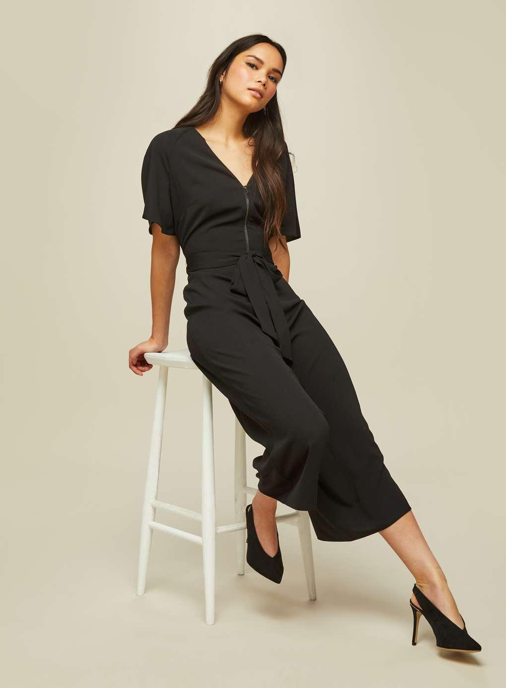 Black Corella Zip Jumpsuit | Hermosaz