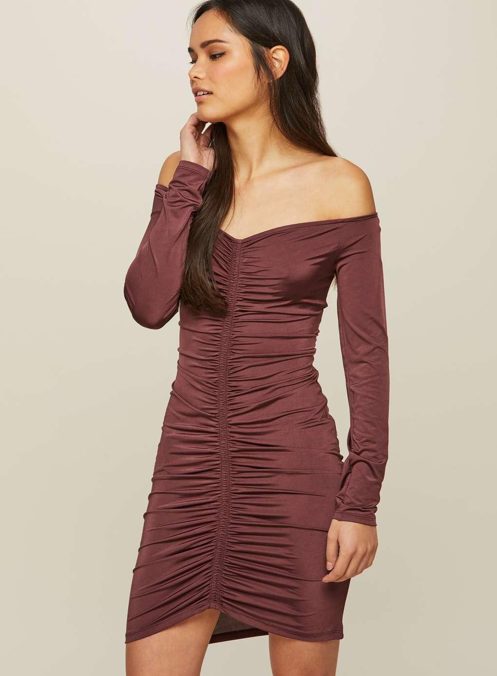 Burgundy Ruched Bodycon Dress | Hermosaz