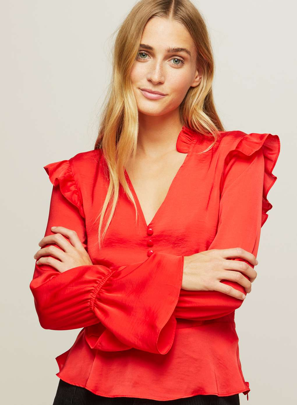 Red Button Ruffle Blouse | Hermosaz