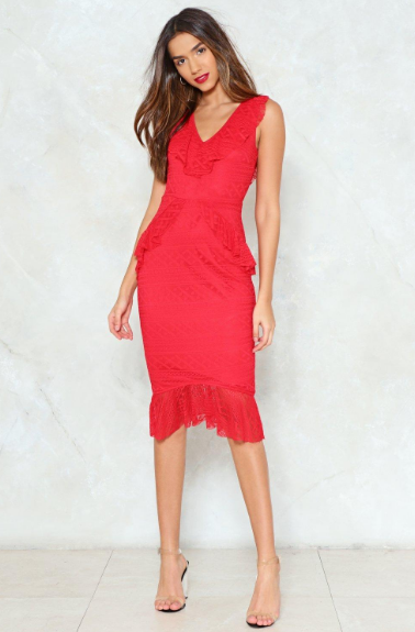 Lace Face It Midi Dress | Hermosaz