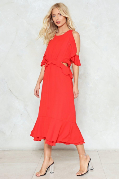 Cut-Out and About Ruffle Dress | Hermosaz