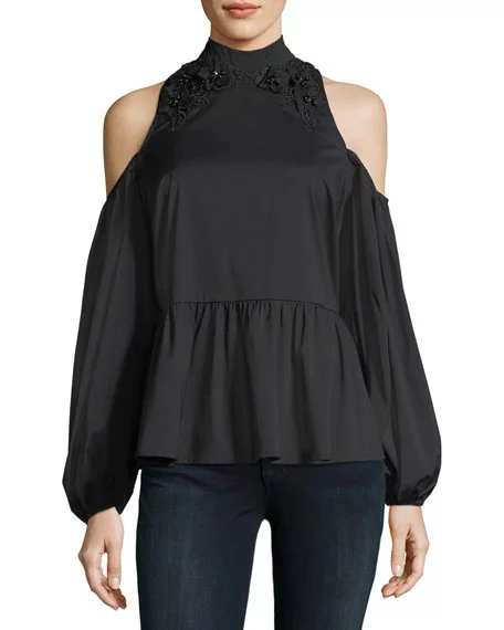 Marled by Reunited Poplin Cold-Shoulder Blouse, Black | Hermosaz