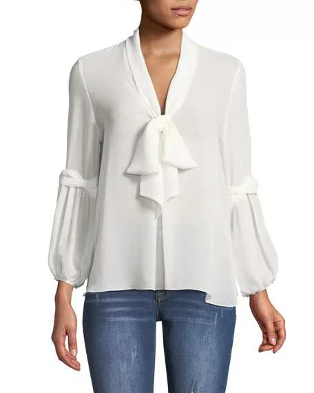 Max Studio Tie-Neck Long-Sleeve Blouse | Hermosaz