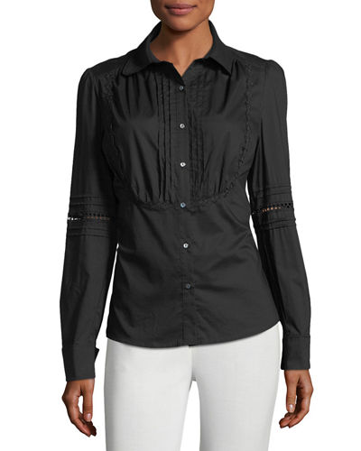 Max Studio Pleat-Bib Button-Down Blouse | Hermosaz