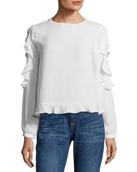 Brandon Thomas Ruffle-Sleeve Blouse with Lace Detail | Hermosaz