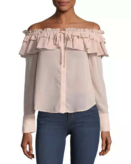 English Factory Off-the-Shoulder Ruffled Top | Hermosaz